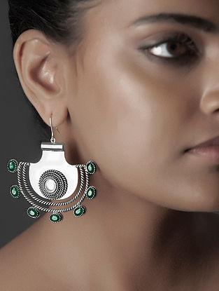 Green Crystal Silver Earrings