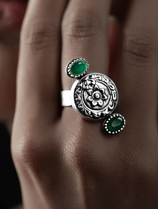 Green Crystal Silver Adjustable Ring