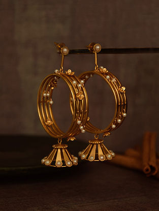 Gold Tone Flower-Studded Bali Earrings with Pearls