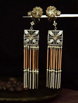 Classic Dual Tone Earrings with Flat Tassels