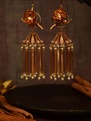 Classic Gold Tone Earrings with Flat Tassels