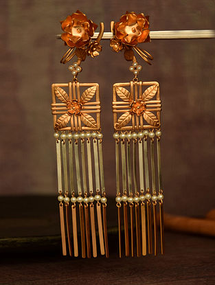 Classic Dual Tone Earrings with Flat Tassels