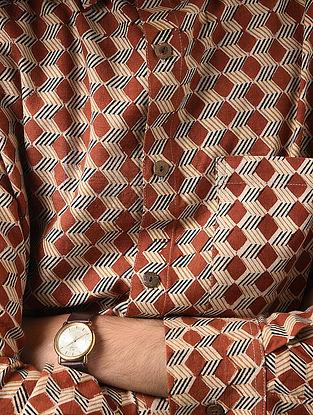 Maroon-Beige Hand Block-printed Cotton Khadi Full Sleeve Shirt