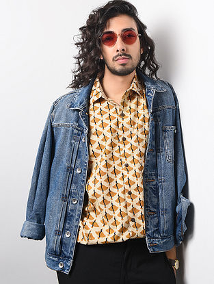Brown-Beige Hand Block-printed Cotton Khadi Full Sleeve Shirt