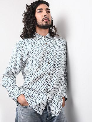 Blue-White Hand Block-printed Cotton Khadi Full Sleeve Shirt