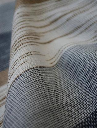 Grey-Beige Cotton Ikat Textured Stripe Fabric