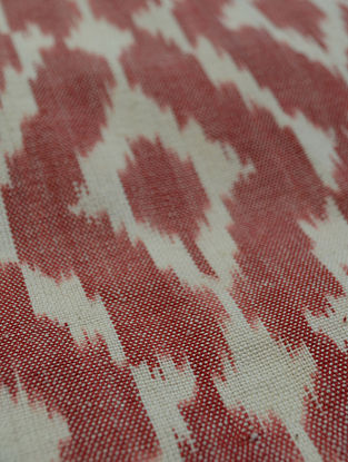 Maroon Cotton Ikat Meander Fabric