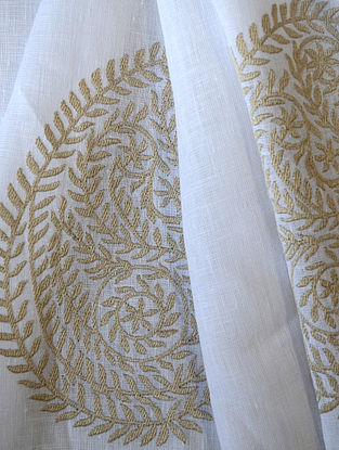 White Leaf Paisley Embroidered Linen Fabric