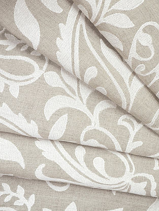 Natural Classic Paisley Allover Embroidered Linen Fabric