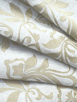 White Classic Paisley Allover Embroidered Linen Fabric