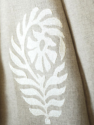 Natural Mogra Embroidered Linen Fabric