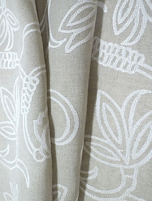 Natural Dhalia Allover Embroidered Linen Fabric