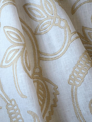 White Dhalia Allover Embroidered Linen Fabric