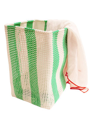 Green Striped Hand Knotted Plastic Utility Basket