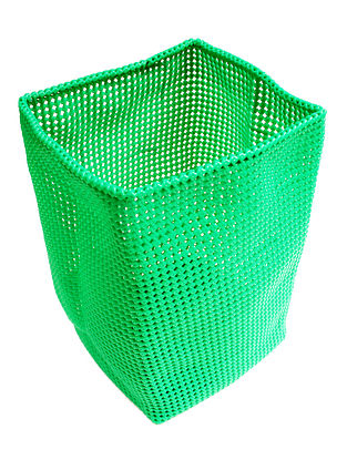 Green Hand Knotted Plastic Utility Basket