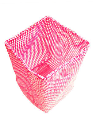 Rose-White Hand Knotted Plastic Utility Basket