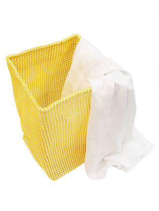 Yellow-White Hand Knotted Plastic Utility Basket