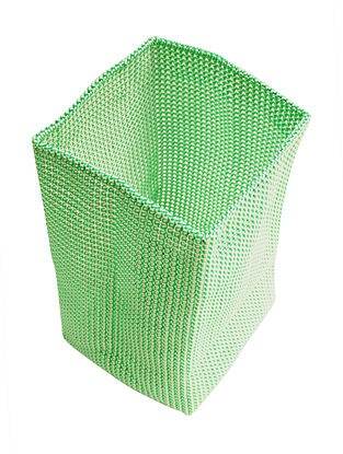 Green-White Hand Knotted Plastic Utility Basket