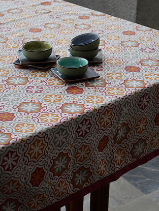 Beige - Burgundy Linen Table Cover 120in X 61.5in