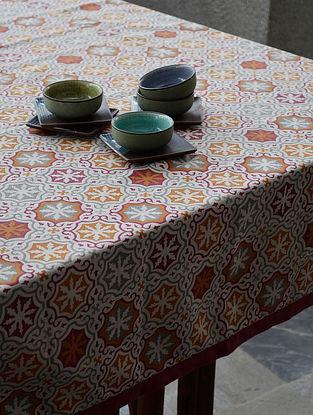 Beige - Burgundy Linen Table Cover 92in X 61.5in