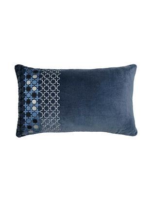 Blue Emroided Velvet Cushion Cover 20.5in X 12.5in