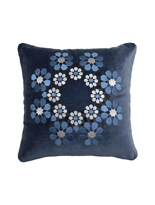 Blue Floral Embroided Velvet Cushion Cover 12.5in X 12.5in