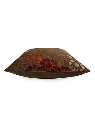 Beige Floral Embroidered Velvet Cushion Cover 16in X 16in