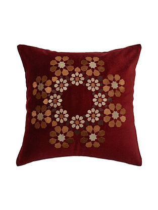 Maroon Floral Embroided Cushion Cover 12.5in X 12.5in