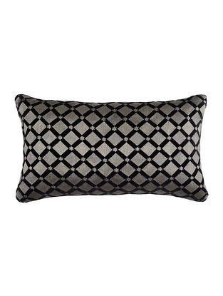 Black Embroided Velvet Cushion Cover 20.5in X 12.5in