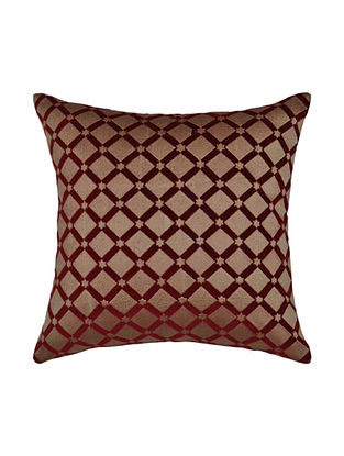 Maroon Embroidered Velvet Cushion Cover 16in X 16in
