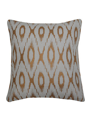 White-Golden Diamond Ikat Foil Printed Cushion Cover 16in x 16in