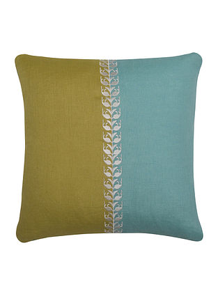 Olive-Sky Blue Neel Kamal Cushion Cover 16in x 16in