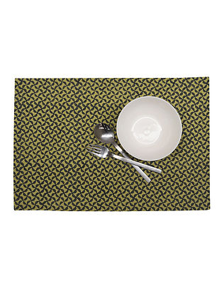 Olive Green Ribbed Place Mat With Handblock Print - Set of 6