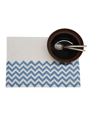 White-Blue Ribbed Place Mat With Handblock Print - Set of 6