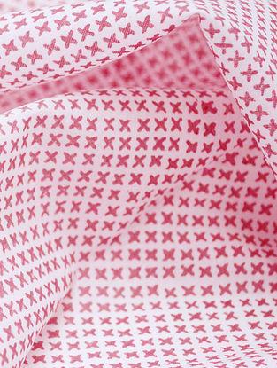 Red Cotton Mesh Design Fabric by YAMINI