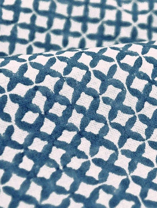 Blue Cotton All Over Jaal Design Fabric by YAMINI