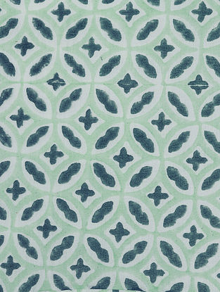 Blue Cotton Kaleidoscope Design Fabric by YAMINI