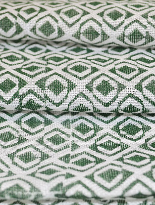 Smoky Linen Diamond Tile Design Fabric by YAMINI