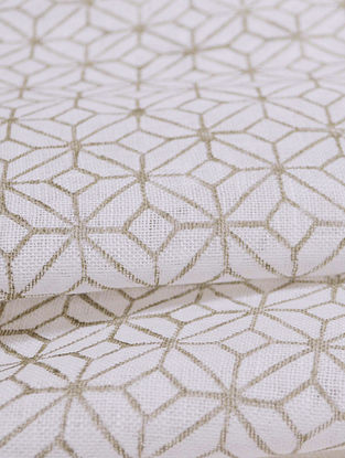 Grey Linen Lattice Design Fabric by YAMINI