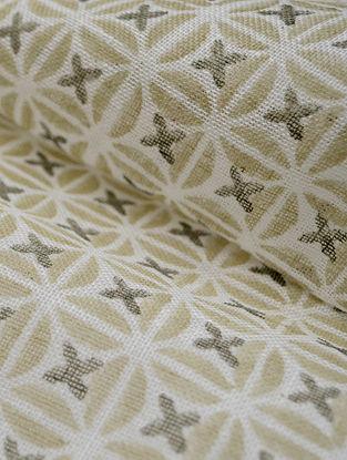 Straw Linen Petal Design Fabric by YAMINI