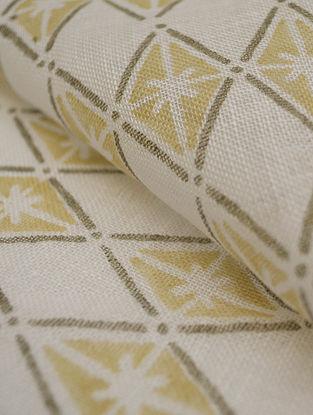 Straw Linen Floral Diamond Design Fabric by YAMINI