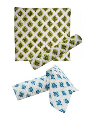 Leaf Pattern Face Towel-Set of 4