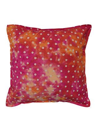 Pink-Orange Polka Dots Batik Cushion Cover 16in x 16in