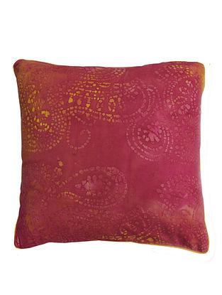 Pink-Orange Paisley Batik Cushion Cover 16in x 16in