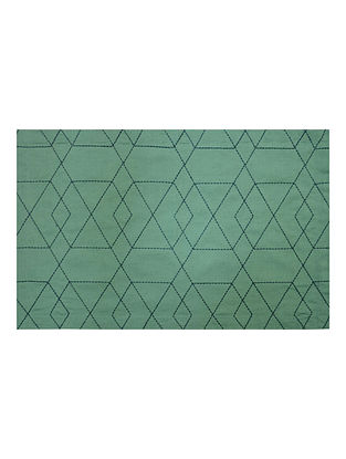 Green Cotton Linen Nova Trellis Embroidered Placemats (Set of 6) 19.5in x 12.5in