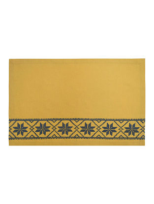 Yellow Cotton Linen Fez Border Embroidered Placemats (Set of 6) 19.5in x 13in