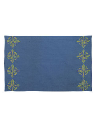 Blue Cotton Linen Tamara Border Embroidered Placemats (Set of 6) 19.5in x 12.6in