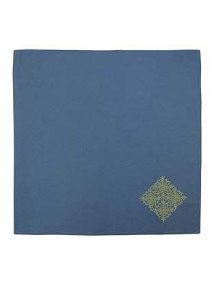 Blue Cotton Linen Tamara Embroidered Dinner Napkins (Set of 6) 16in x 16in
