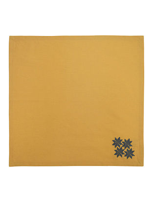 Yellow Cotton Linen Fez Border Embroidered Dinner Napkins (Set of 6) 16in x 16in
