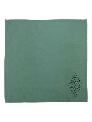 Green Cotton Linen Nova Trellis Border Embroidered Dinner Napkins (Set of 6) 16in x 16in